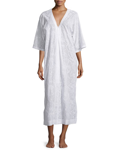 Embroidered Cotton Lawn Zip Caftan, White