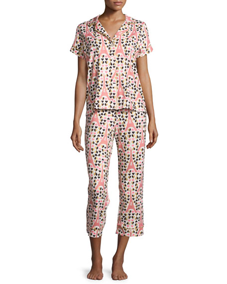Bedhead Eiffel Hearts Short-Sleeve Cropped Pajama Set, Pink
