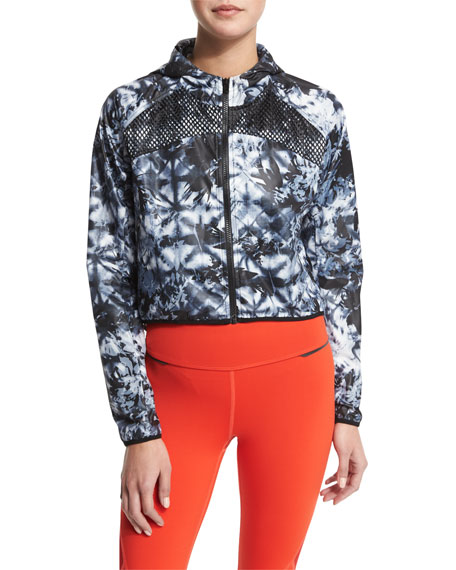 Woven Mesh-Inset Athletic Zip Jacket, Palm Shadow