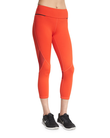 Alala Captain Crop Capri Running Tights/Leggings, Fiery Red