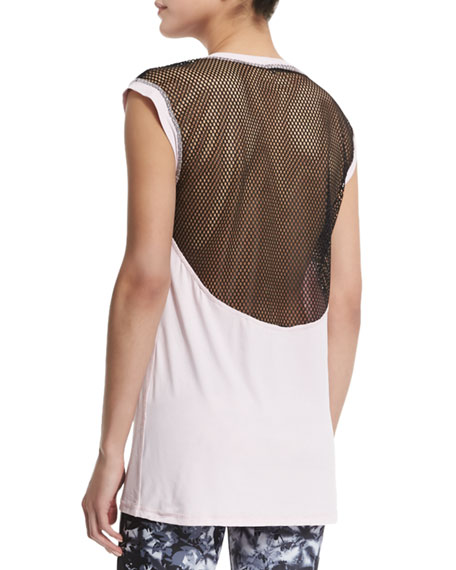 Mesh-Back Cap-Sleeve Sport Tee, Petal