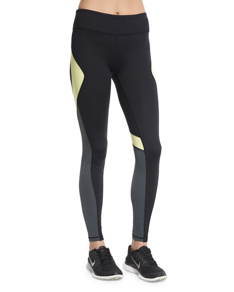 Alala Edge Colorblock Ankle Running Tights, Citrine/Black/Granite