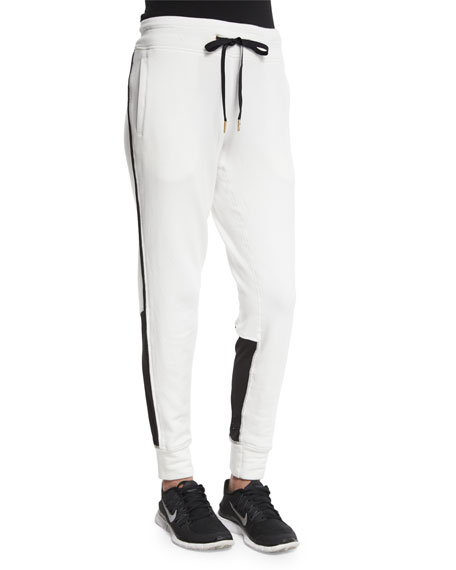 Alala All Day Colorblock Performance Sweats, Bone/Black