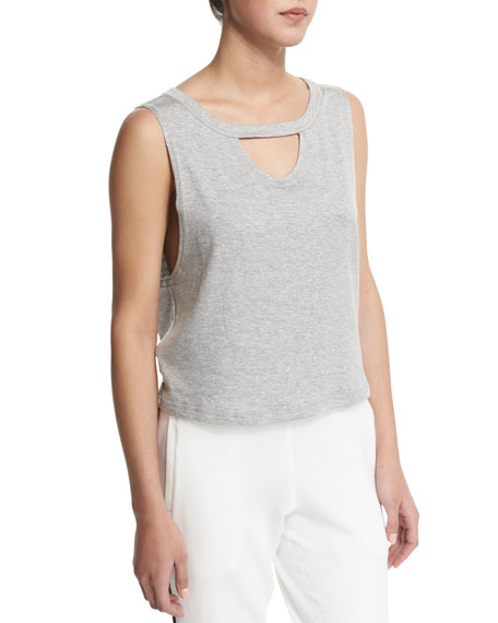 Knockout Keyhole Sport Tank, Heather Gray