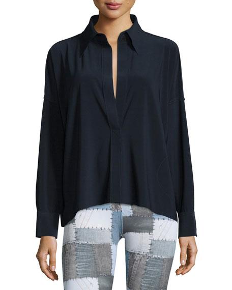 Norma Kamali Long-Sleeve Stretch Boxy Sport Shirt