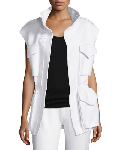 Sleeveless Cargo-Pocket Sport Jacket, White