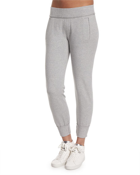 Norma Kamali Classic Stretch Jogger Pants, Gray