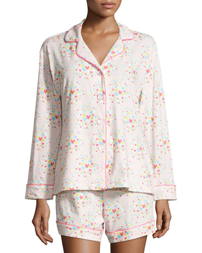 Confetti Hearts Long-Sleeve Shorty Pajama Set, Pink