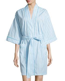 Striped Kimono Short Robe, Turquoise