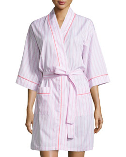 Striped Kimono Short Robe, Pink