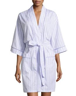 Striped Kimono Short Robe, Lavender