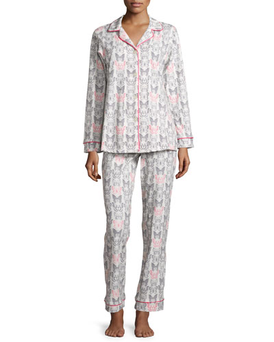Butterfly-Print Classic Pajama Set, Black/Pink