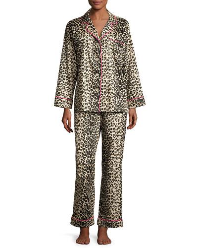 Leopard-Print Sateen Pajamas