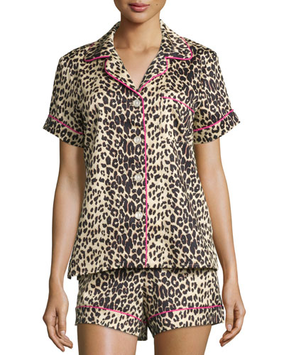 Wild Thing Printed Shorty Pajama Set, Leopard