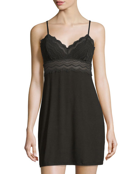 Cylon Lace-Trim Babydoll Nightie, Black