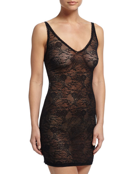 Cosabella Trenta Allover Lace Slip Dress, Black