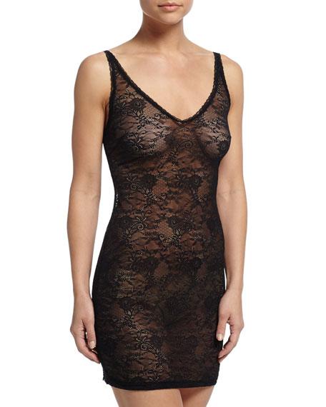 Trenta Allover Lace Slip Dress, Black