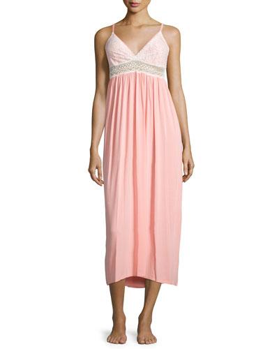 Long Sleeveless Nightgown W/Lace Trim, Peach