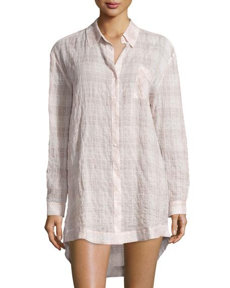 Skin Molly Plaid Gauze Sleepshirt