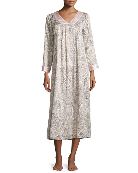 Oscar de la renta paisley print brushed back satin caftan for Caftan avec satin de chaise