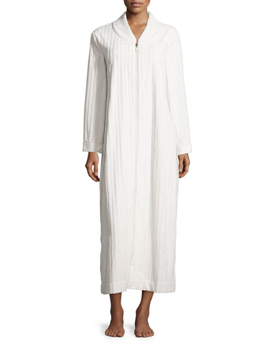 Embossed-Stripe Robe, Champagne