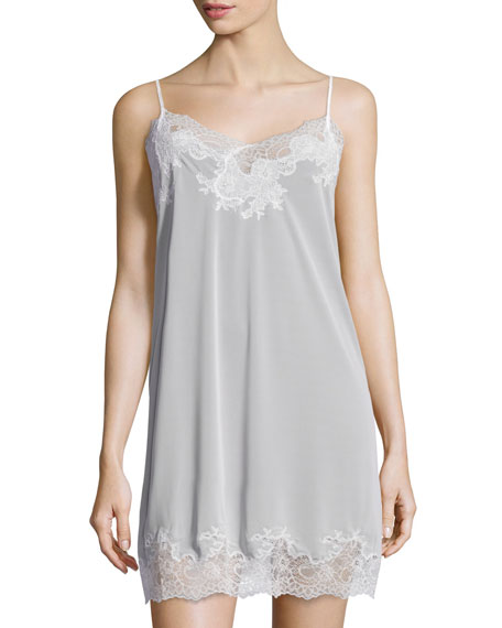 Natori Enchant Lace-Trimmed Chemise, Pearl