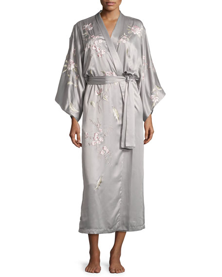 Natori Dawn Long Floral-Embroidered Robe, Smoked Pearl