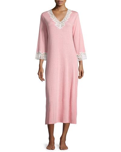Natori Lhasa Lace-Trimmed Long Sleepshirt, Pink Nectar