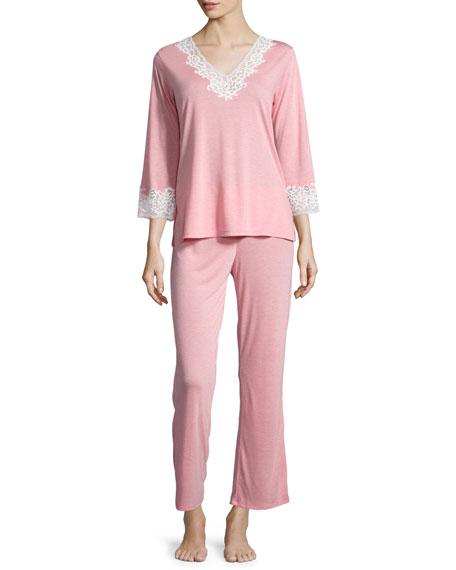 Natori Lhasa 3/4-Sleeve Lace Pajama Set