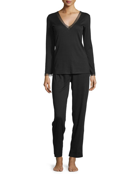 Natori Aria Ribbed Knit Pajama Set, Black