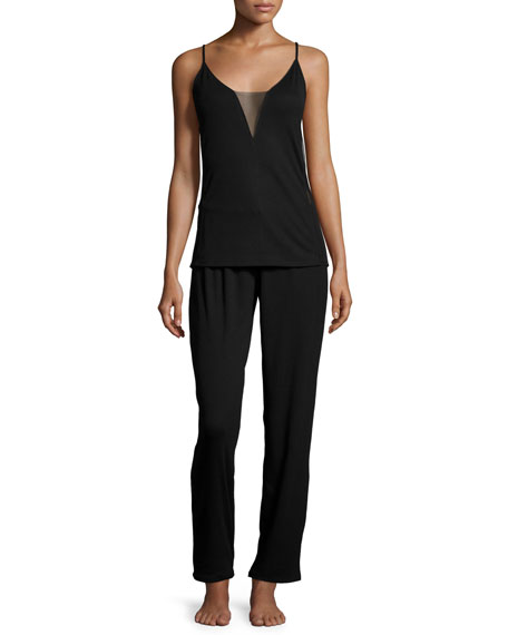 Natori Aria Cami Knit Pajama Set, Black