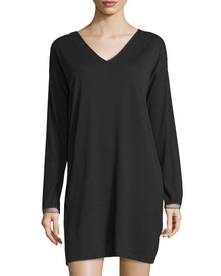 Natori Aria Ribbed V-Neck Sleepshirt, Black