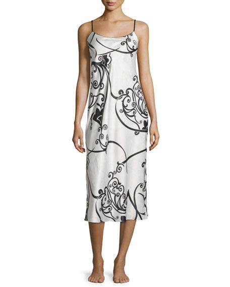 Natori Selis Long Gown, Black/Ivory