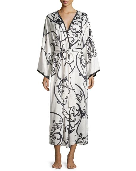 Natori Selis Long Robe, Black/Ivory