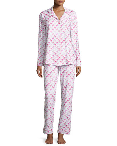Flamingo Printed Long-Sleeve Pajama Set