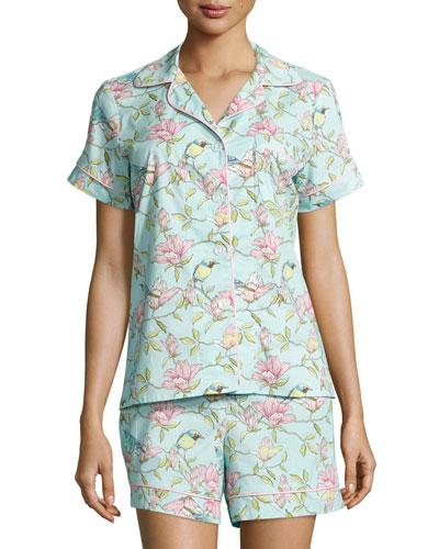 Botanical Bird & Flower Printed Short Pajama Set, Blue