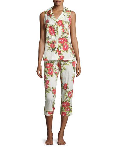 Coral Hibiscus Printed Pajama Set