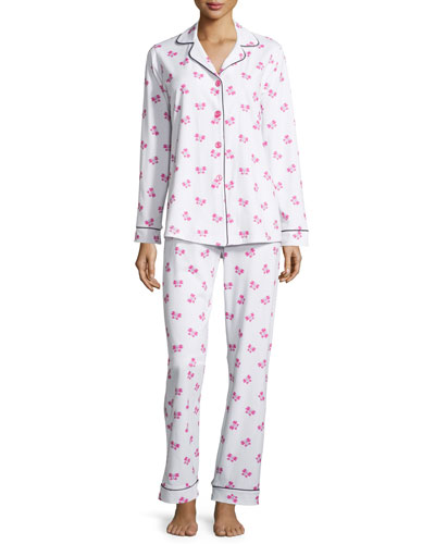 Butterfly-Print Classic Pajama Set, Women's