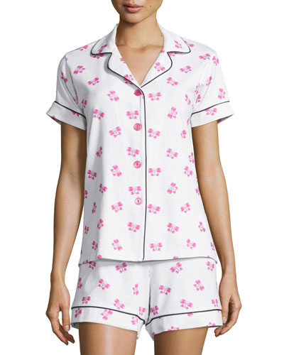 Butterfly-Print Short Pajama Set, Women's