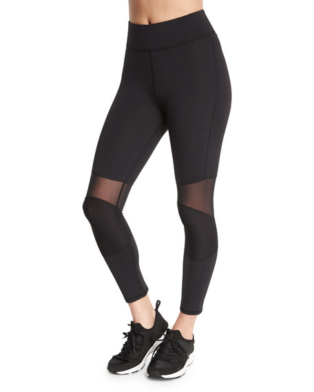 Michi Ballistic Mesh-Panel Ribbed Sport Leggings