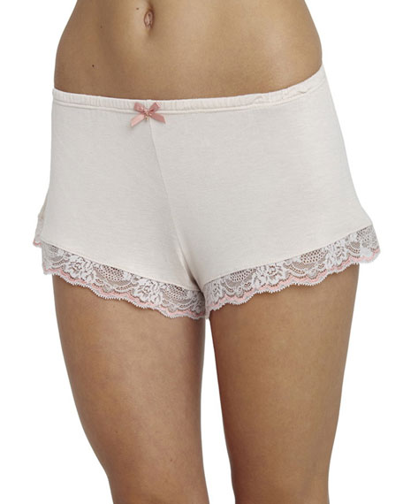 Desiree Lace-Trim Lounge Shorts, Misty Pink