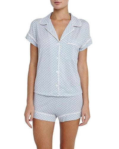 Cabana Girl Printed Short Pajama Set, Chambray