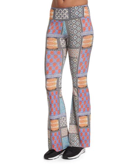 Onzie Patchwork-Print Bell-Bottom Sport Pants