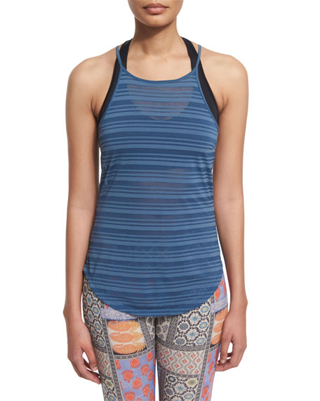 Onzie High-Neck Striped Sport Tank Top, Jean