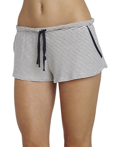 Striped Lounge Shorts, Moonlit Blue