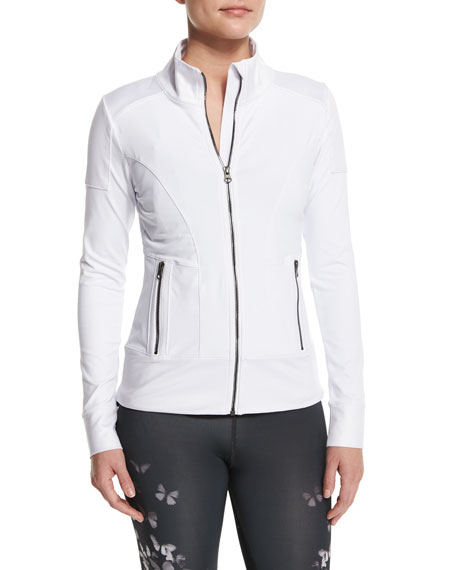 Alo Yoga Full-Zip Moto Sport Jacket, White/Glossy