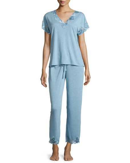 Natori Zen Floral-Lace Inset Two-Piece Pajama Set, Sailor
