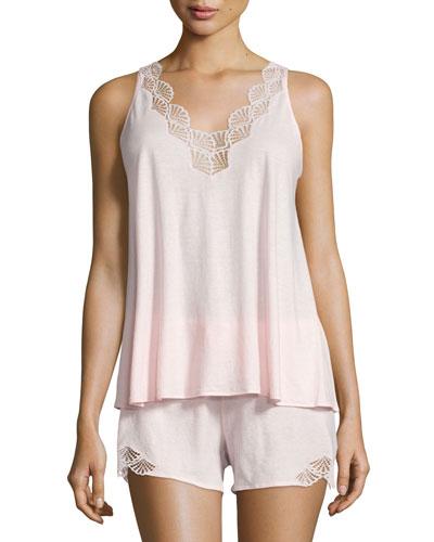 Tranquility Lace-Trim Shorty Pajama Set, Rose