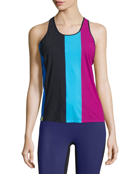 Monreal London Colorblock Racer Sport Tank, Berry