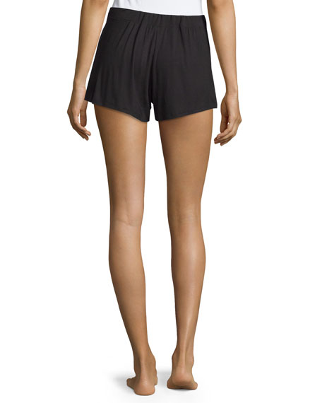 Belle Epoque Satin-Trim Lounge Shorts, Black